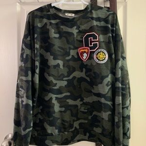 Ardene Army Print Crewneck Sweater